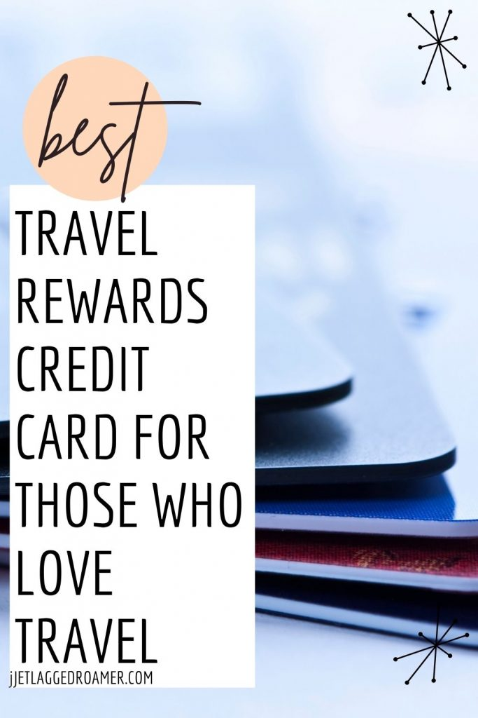 Picture of a stack of credit cards image on photo read best travel rewards credit card for those who love travel.