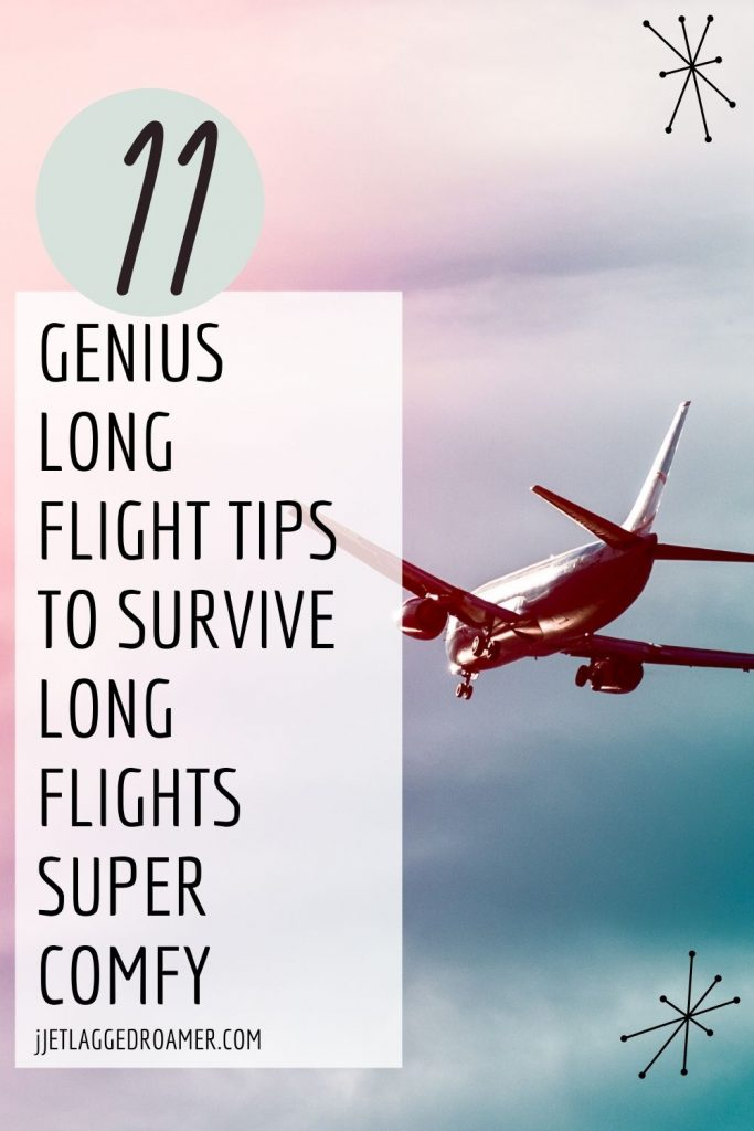 Plane flying in the air during sunset words on image say 11 genius long flight tips to survive long flights super comfy.