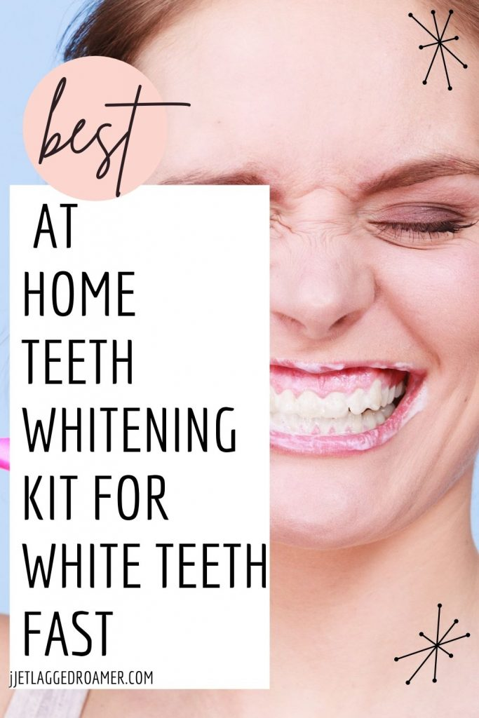 Picture of a woman smiling with words that read best at home teeth whitening kit for white teeth