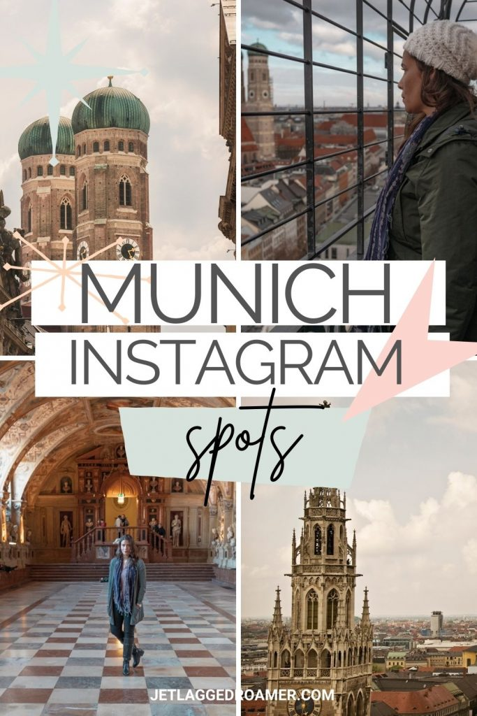 Me posing at random Munich spots and text reads Munich Instagram spots.