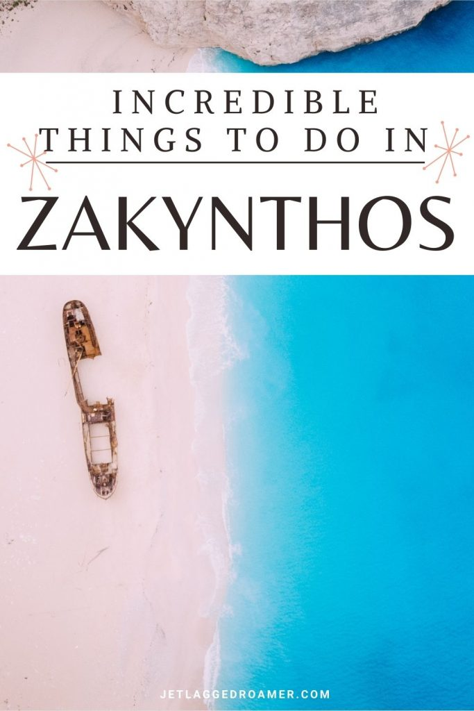 Empty Shipwreck Beach with text that reads things to do in Zakynthos.