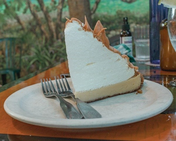 key lime pie from blue heaven in Key West. A must eat on a road trip from Miami to Key West.