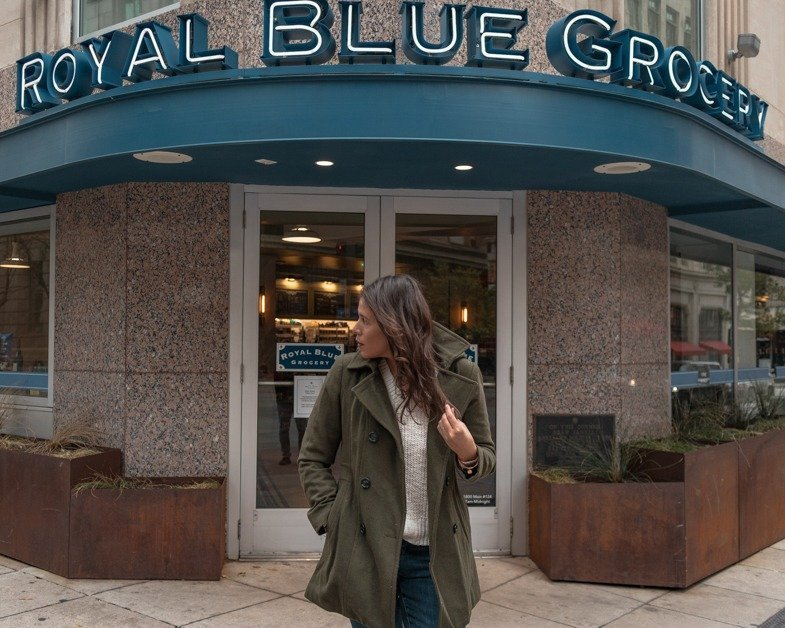 Picture of me posing outside of Royal Blue Grocery one of the best places to take pictures in Dallas. 2