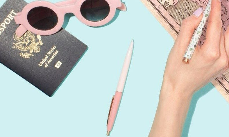 Picture of a map, sunglasses, and passport.