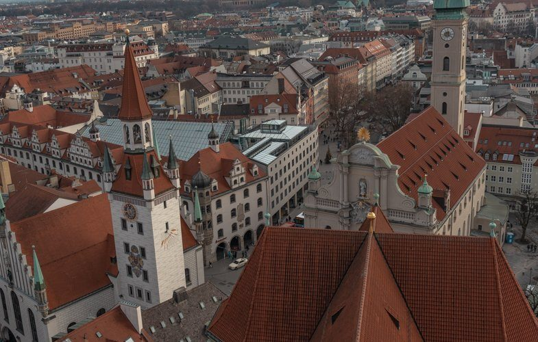 View of Old Town Hall (Alte Rathaus) from St. Peter's Tower one of the places to see spending one day in Munich.