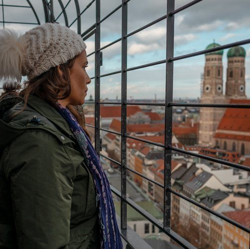 Picture of me at St. Peter's Tower one of the top Munich photo spots.
