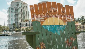 Picture of one of the famous oversized chairs on Fort Lauderdale. One of the things to do in Fort Lauderdale and see.