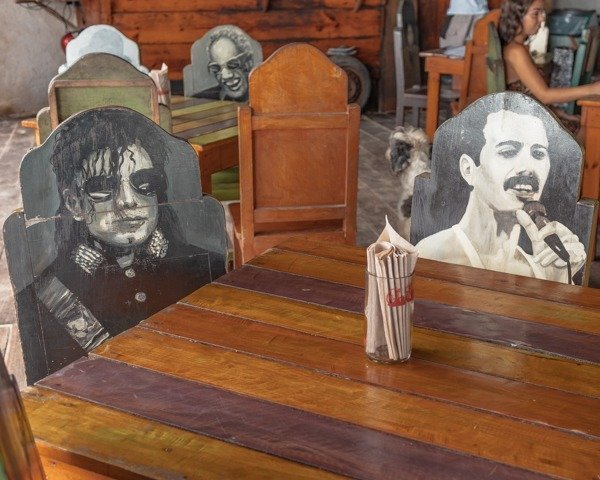 Restaurant chairs with famous musicians