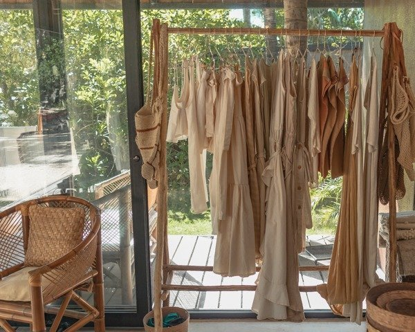 Bohemian style clothing hanging in a boutique
