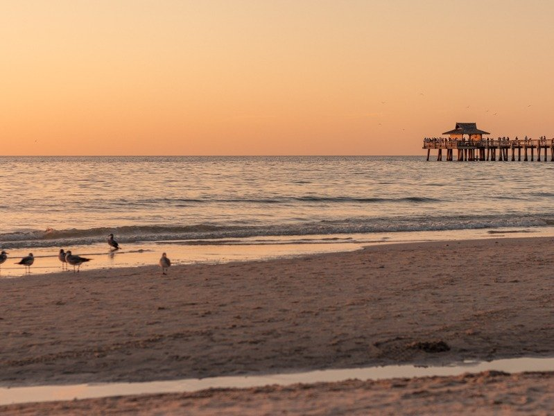 Naples beach with the Naples pier in the background during golden hour