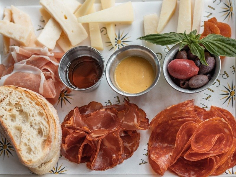 Charcuterie board board from Vergina one of the places to go in Naples for a good meal.