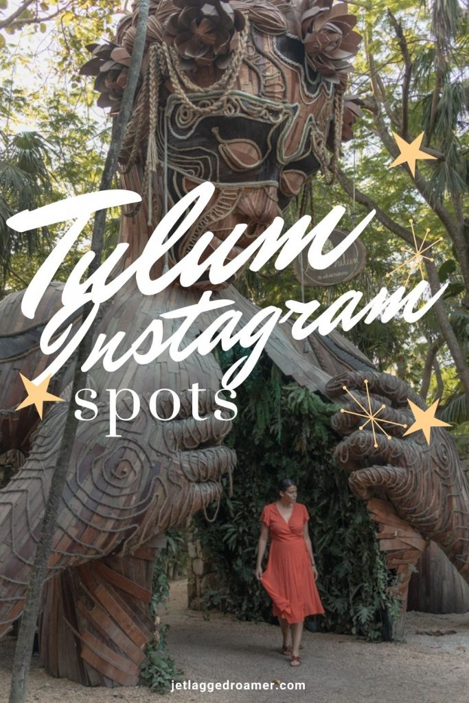 Picture of me posing outside of the Ven a la Luz statue. Text reads Tulum Instagram spots.