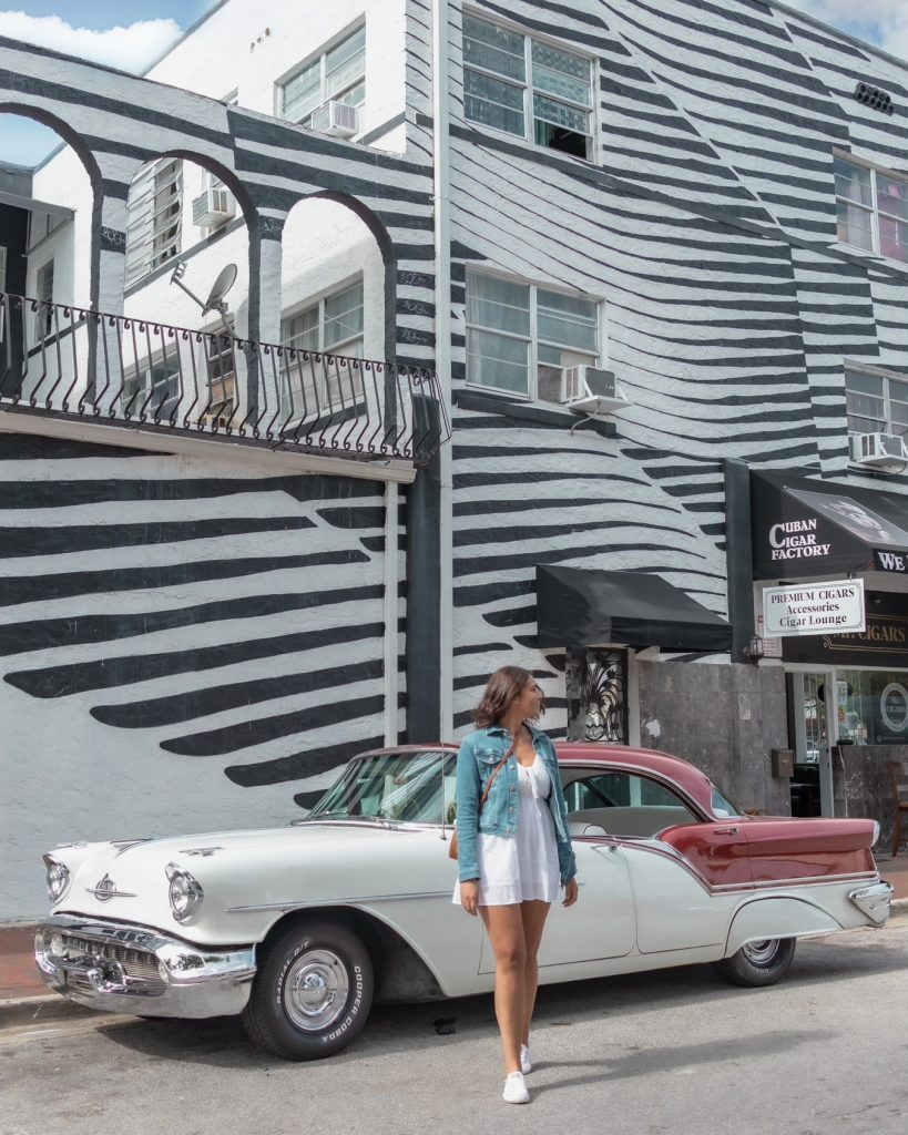 Me posing in front on an old cadillac  in Little Havana