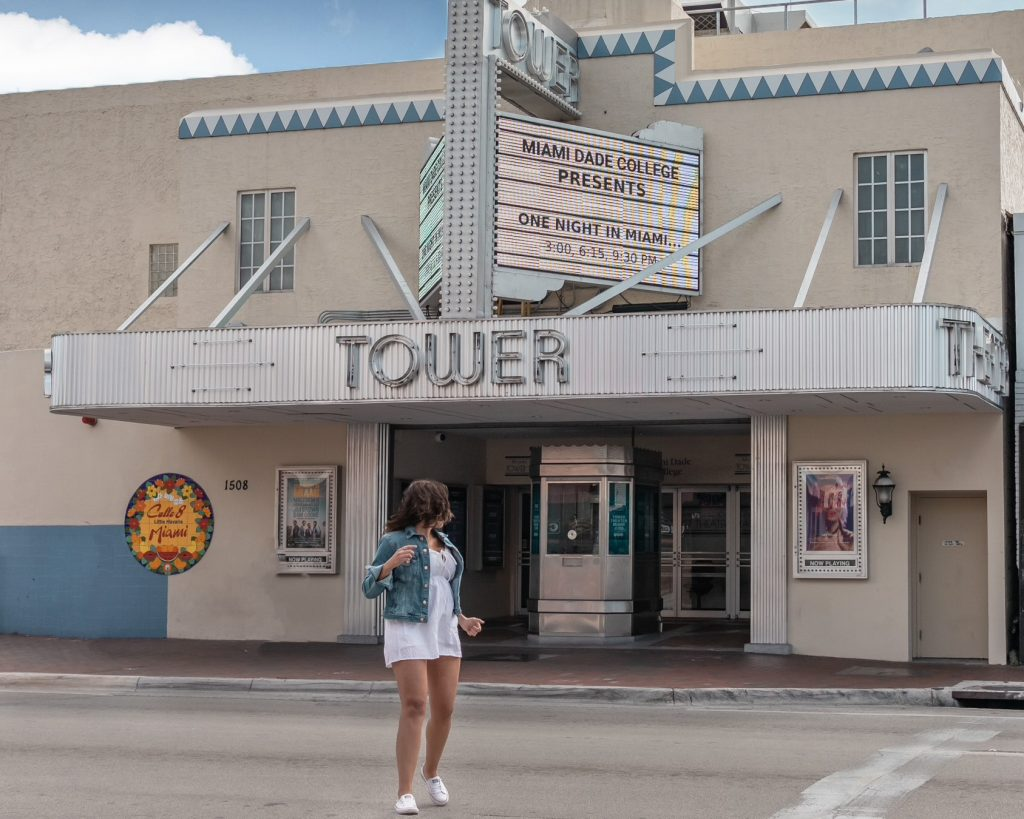 Looking back at the tower crossing the street in Little Havana