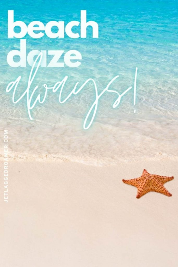 """orange starfish on shore and turquoise water with a quote that says """"beach daze always."""""""