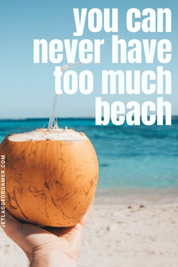 """Someone holding a coconut with a straw in front of the beach and a quote with """"you can never have too much beach."""""""