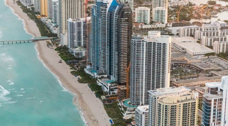 Beautiful aerial view of the shoreline in Miami Beach