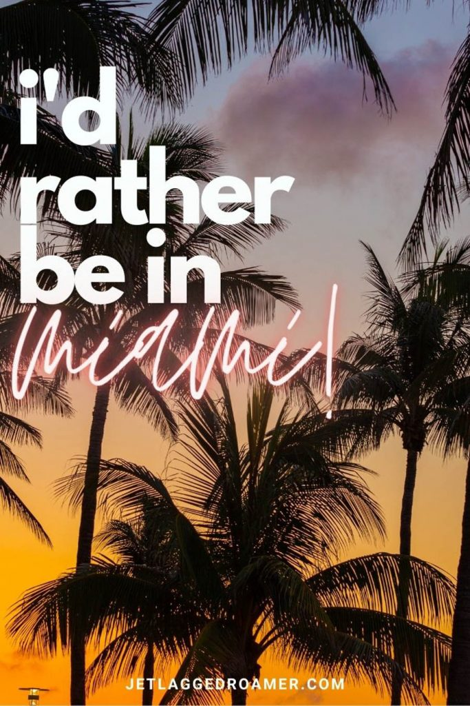 """Sunsetting on palm trees with the words """"I'd rather me in Miami."""""""