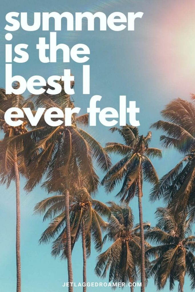 """Tall skinny palm trees on a sunny day and blue sky with a cute summer caption that reads """"summer is the best I ever felt."""""""