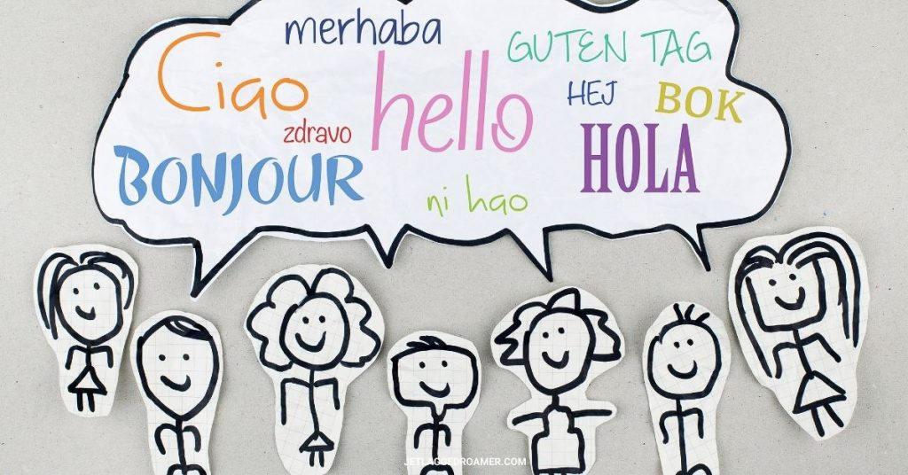 """Stick drawings all with a comment bubble filled with """"hello"""" in different languages."""
