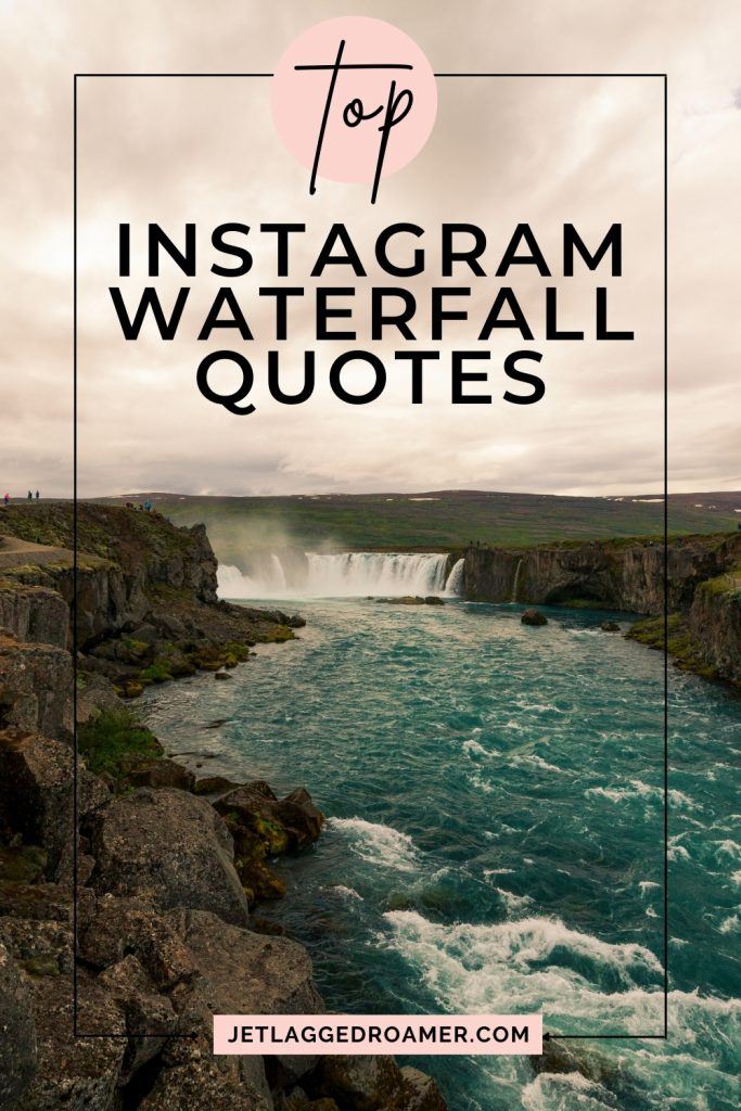 Beautiful waterfall near the Cliff's streaming during sunset. I words on photo free top Instagram waterfall quotes.