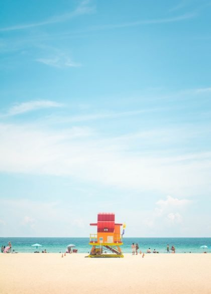 lifeguard stand on Miami beach on a sunny day.