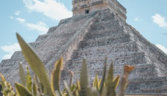 Valladolid to Chichen Itza pyramid on a sunny day.