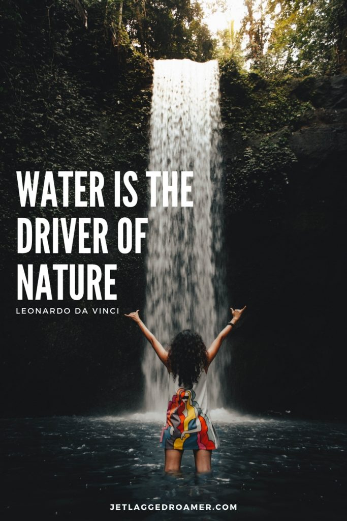 """Woman in her dress standing in front of a large waterfall and a waterfall quote saying """"Water is the driver of nature.""""- Leonardo Da Vinci"""