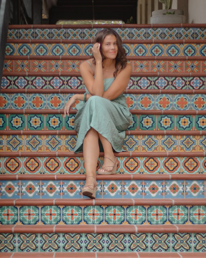 Me posing on the Spanish influenced stairs at Highland Park Village in Dallas