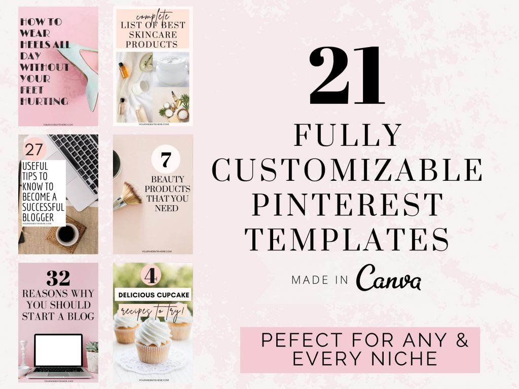 Etsy template that says 21 fully customizable Pinterest templates. Made in canva perfect for any and every niche.