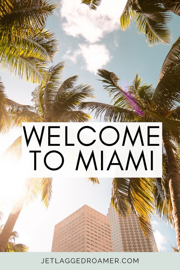 """Miami palm trees and a sunny blue sky and a Miami caption for Instagram that says """"Welcome to Miami."""""""