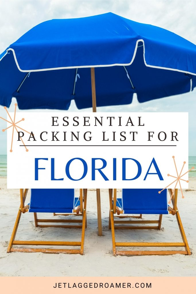 Pinterest pin for Florida packing list of two beach chairs and a beach umbrella at the beach on a cloudy day. Tax rates essential packing list for Florida.