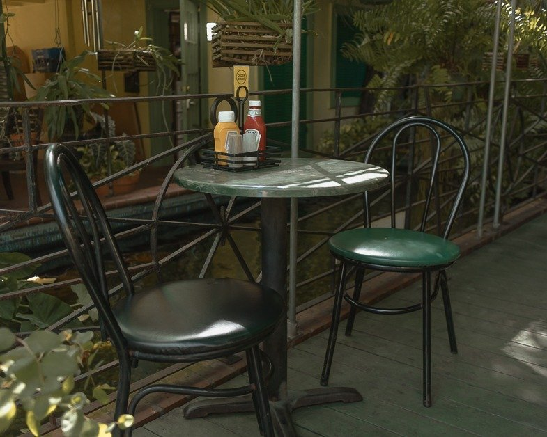 Outdoor patio seating at Kermits.