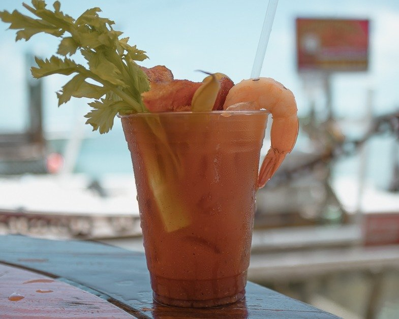 Bloody Mary from Robbie's Mariana one of the top spots to visit from Miami to Key West.