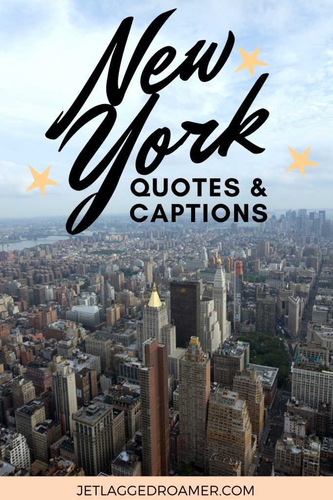 Aerial view of NYC. Text reads New York quotes and captions.
