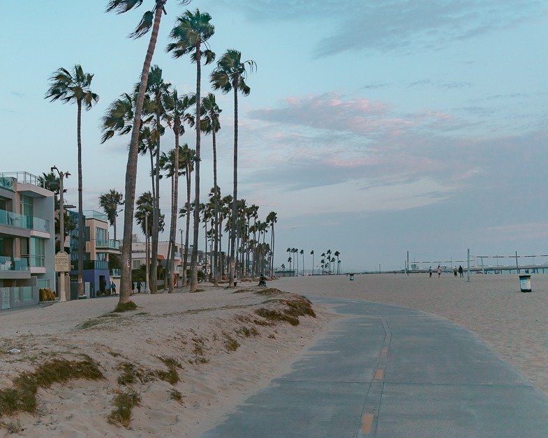 Venice Beach during sunset one of the top places to visit during a layover in Los Angeles.